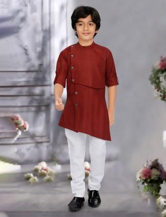 Maroon stripe cotton festive function kurta suit