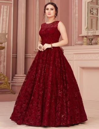Maroon wedding reception gown in net