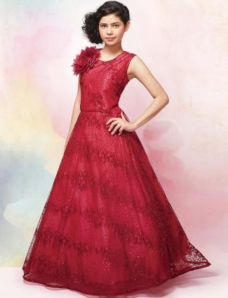 Maroon wedding wear net fabric gown