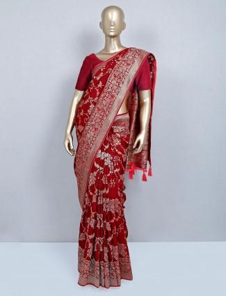 Maroon wedding wear saree for women
