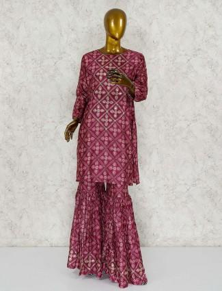 Maroon wine cotton silk punjabi sharara suit