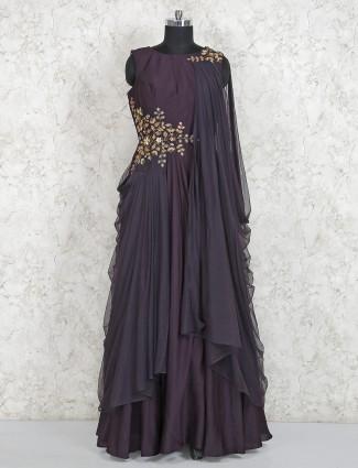 Maroon wine georgette cowl style gown