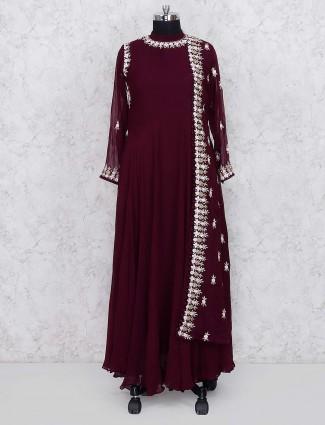 Maroon wine georgette floor length anarkali salwar suit