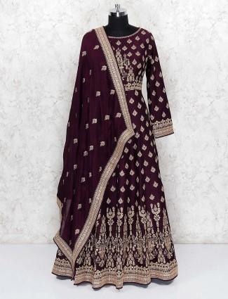 Maroon wine party wear raw silk floor length anarkali salwar suit