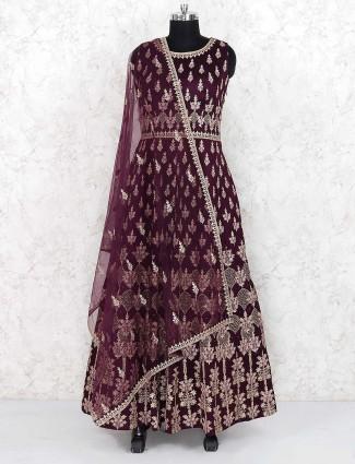 Maroon wine raw silk party floor length anarkali salwar suit