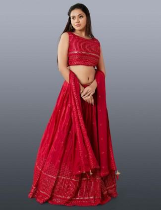 Marron designer silk lehenga choli for wedding occasions