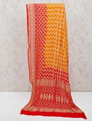 Mastard yellow bandhani printed saree