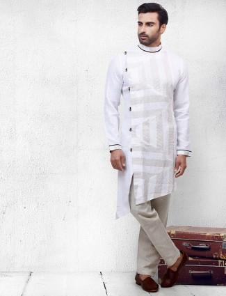 Mens white hue printed cotton kurta suit