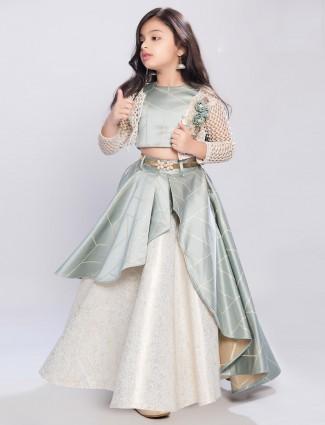 Mint green satin designer jecket style lehenga choli