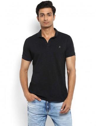 Mufti black slim fit collar neck t-shirt
