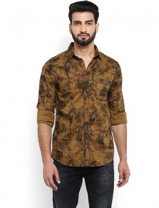 Mufti brown color printed slim fit shirt