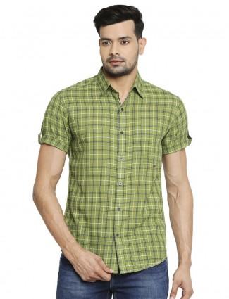 Mufti cotton green shirt with checks