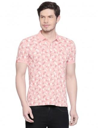 Mufti flower printed pink cotton t-shirt