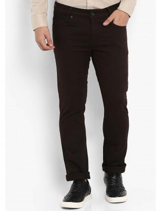Mufti slim fit brown hued trouser