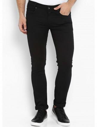 Mufti solid black cotton trouser