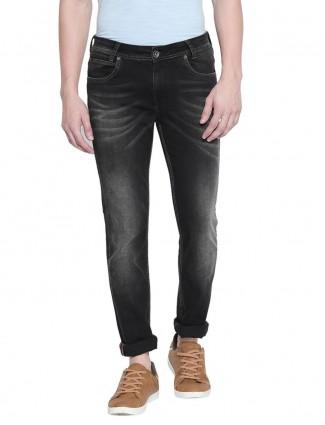 Mufti solid black super slim fit jeans