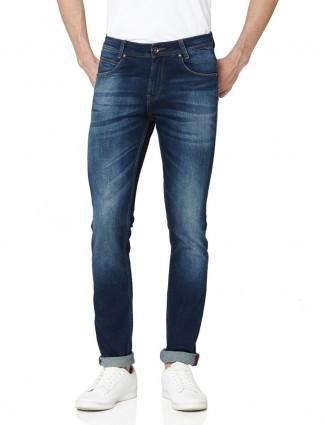 Mufti solid blue super slim fit jeans