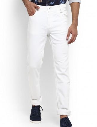 Mufti solid white denim slim fit jeans