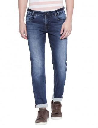 Mufti super slim fit solid blue jeans