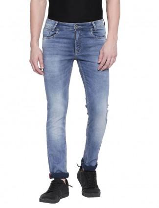 Mufti super slim fit washed light blue jeans
