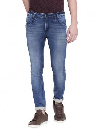 Mufti super slim fit washed royal blue jeans