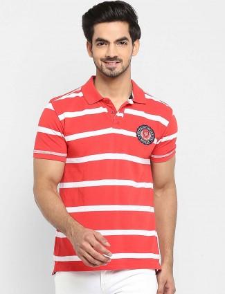 Mufti tomato red stripe pattern t-shirt