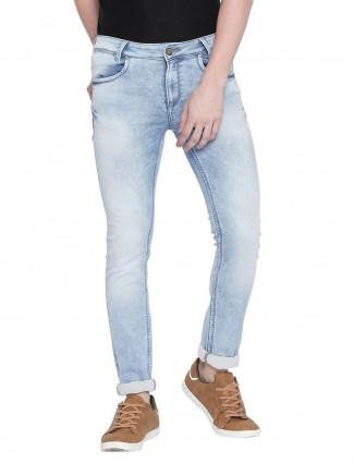 Mufti washed light blue super slim fit jeans