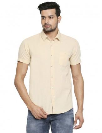 Mufti yellow solid stylish cotton shirt