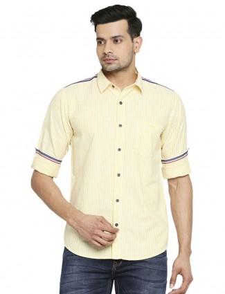 Mufti yellow stripe shirt in cotton