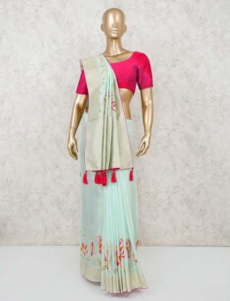 Muga silk aqua colour saree design for festivals