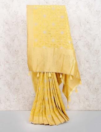 Muga silk fabric yellow color saree