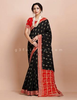 Muga silk party wear black zari butti weaving saree