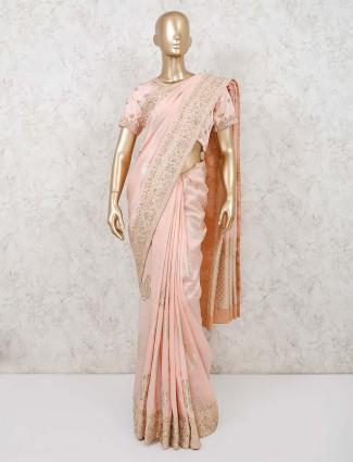 Muga silk peach party saree with readymade blouse
