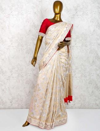 Muga silk pretty saree in cream hue