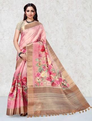 Mulberry silk printed pink saree