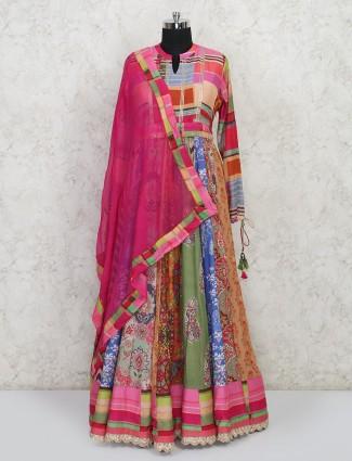 Multi color cotton silk party wear anarkali salwar kameez