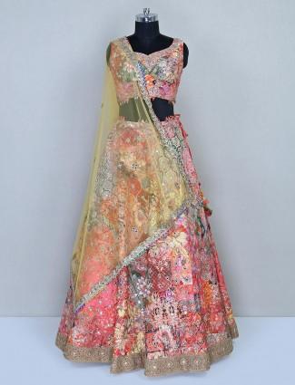 Multi colored lehenga choli in silk fabric