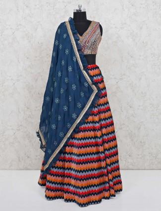 Multicolor party wear zik zak pattern lehenga choli