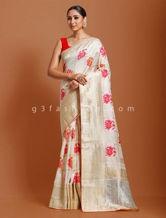 Munga silk cream wedding saree