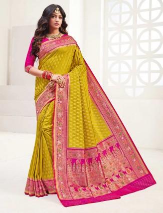 Mustard banarasi silk saree for wedding