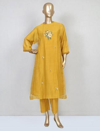 Mustard cotton pant suit for festive