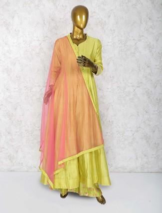 Mustard green cotton silk festive wear punjabi palazzo suit