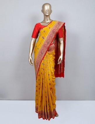 Mustard muga silk saree for wedding