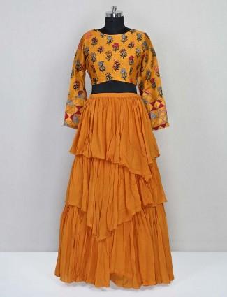 Mustard printed lehenga style salwar suit