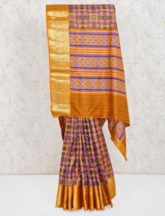 Mustard yellow and pink cotton silk saree
