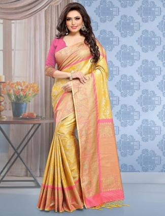 Mustard yellow banarasi silk wedding saree