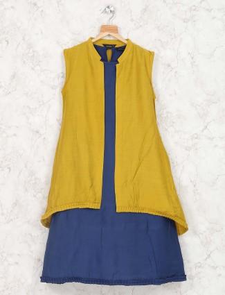 Mustard yellow cotton fabric dress