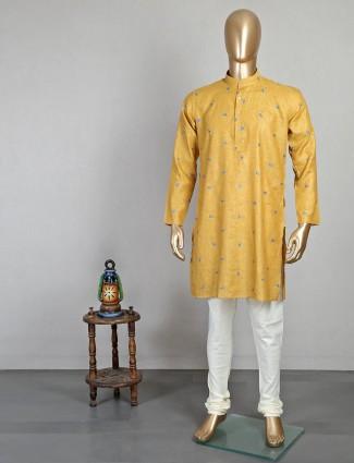 Mustard yellow cotton kurta suit festive wear