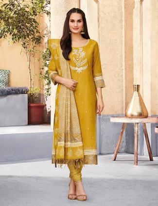 Mustard yellow cotton lovely salwar suit