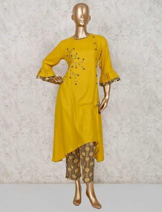 Mustard yellow cotton palazzo set